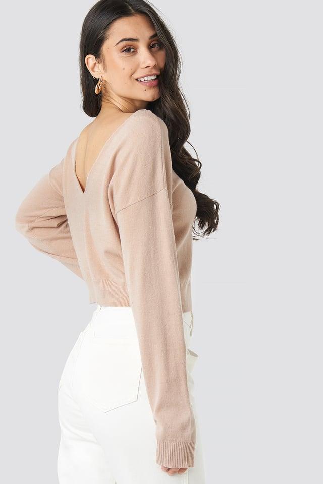 Back V-neck Cropped Sweater Dusty Light Pink