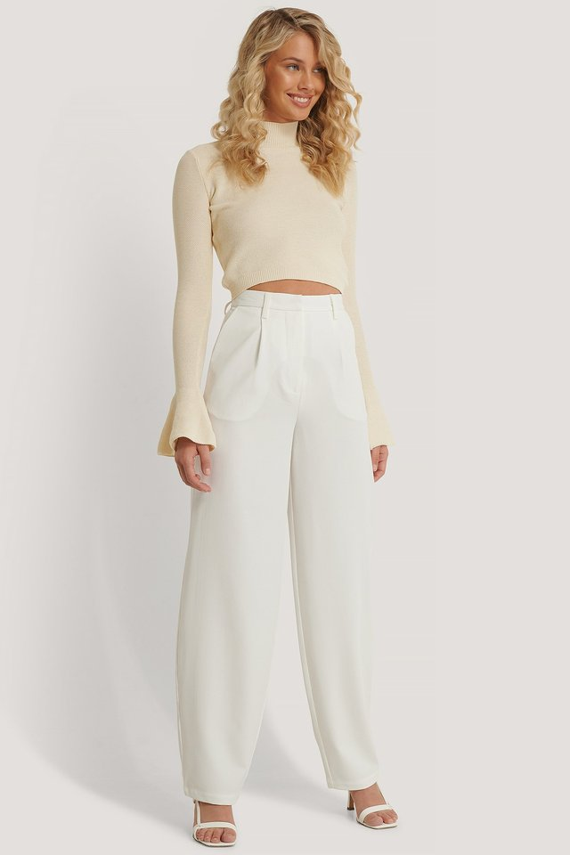 White Baggy Kostymbyxor