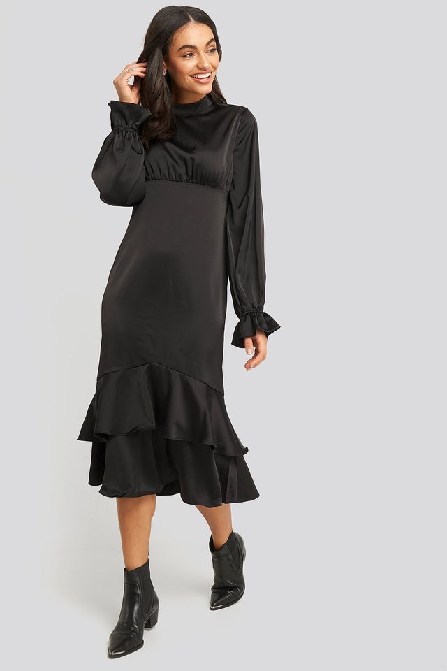 Ballon Sleeve Gathered Midi Dress Black