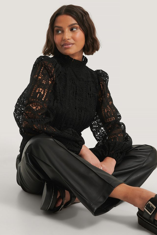 Black Balloon Sleeve High Neck Lace Blouse