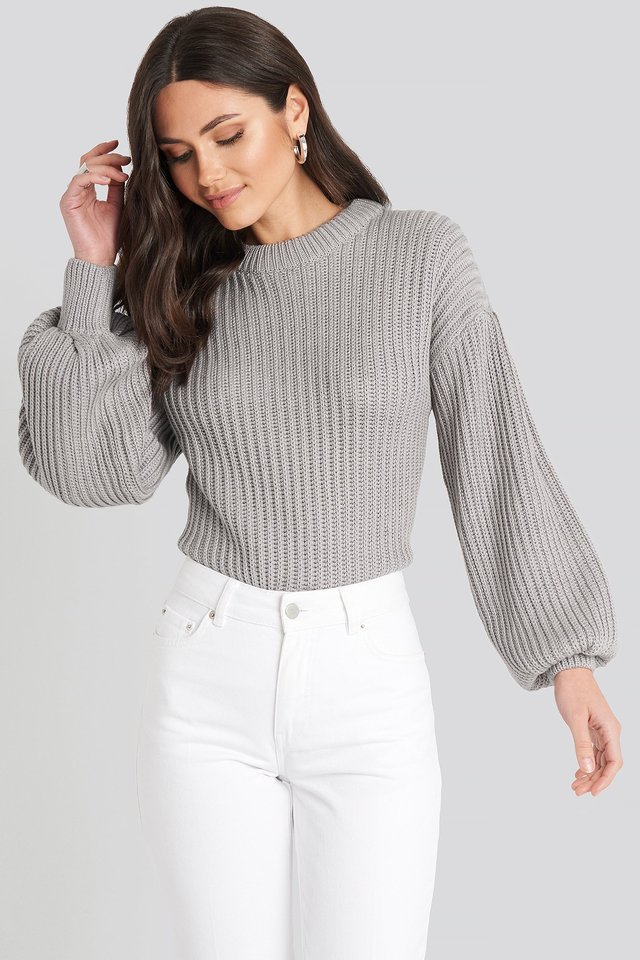 Balloon Sleeve Round Neck Sweater Grey