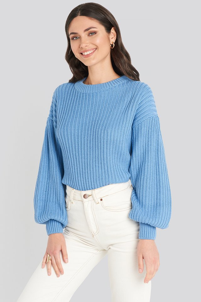 Balloon Sleeve Round Neck Sweater Blue