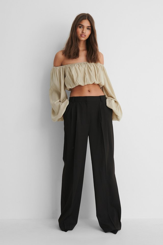 Balloon Long Sleeved Cropped Top Grey