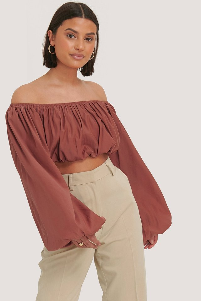 Balloon Long Sleeved Cropped Top Terracotta