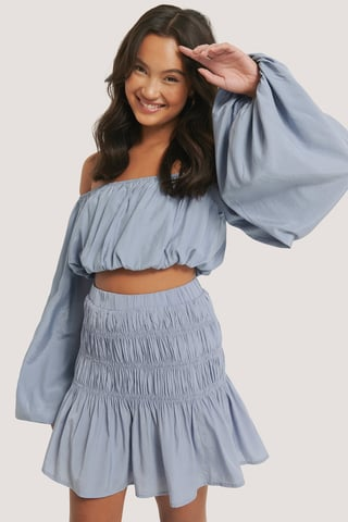 Dusty Blue Balloon Long Sleeved Cropped Top