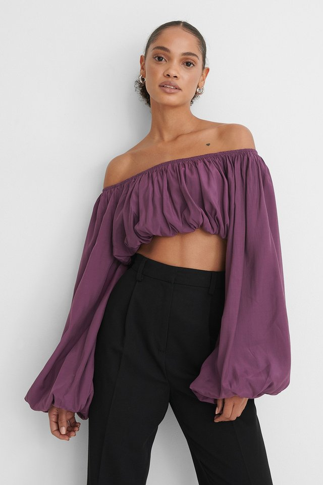 Balloon Long Sleeved Cropped Top Lilac