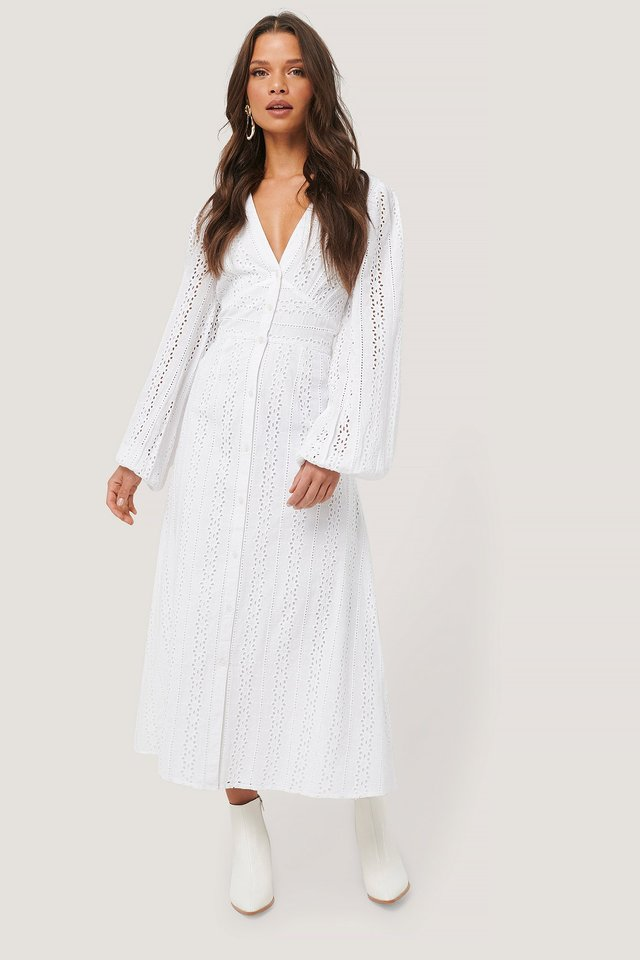 Balloon Sleeve Anglaise Midi Dress White