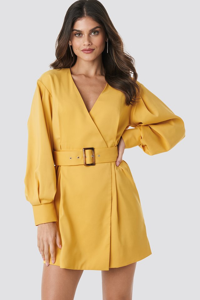 Yellow Balloon Sleeve Belted Blazer Dress