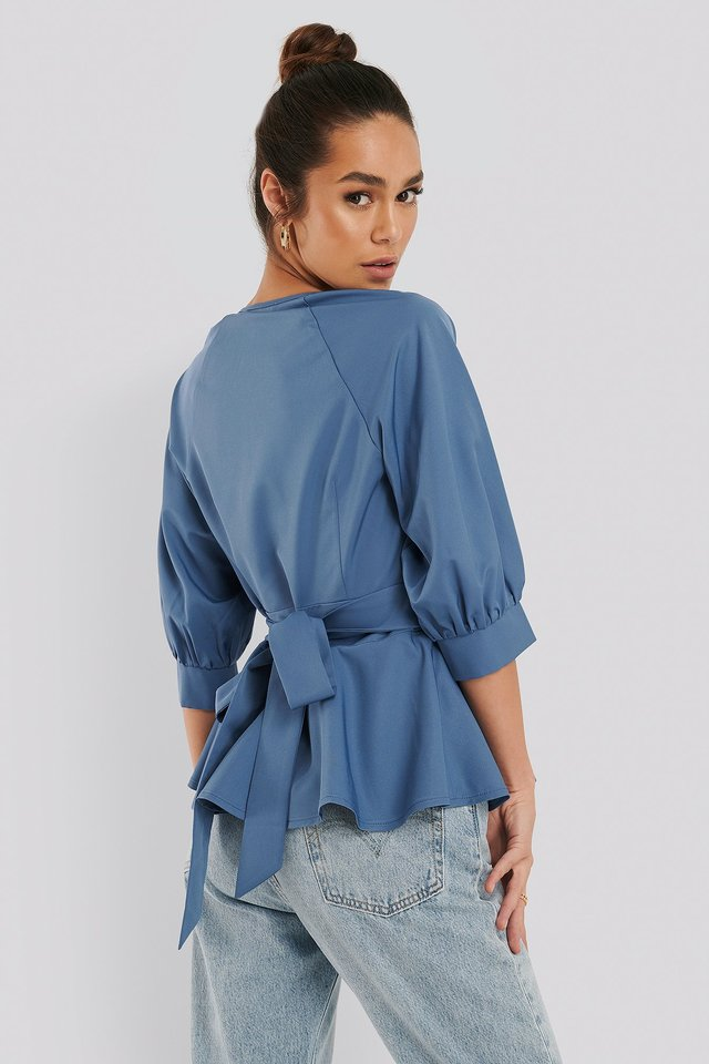 Balloon Sleeve Belted Blouse Blue