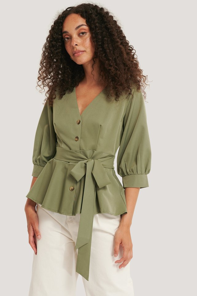 Balloon Sleeve Belted Blouse Green