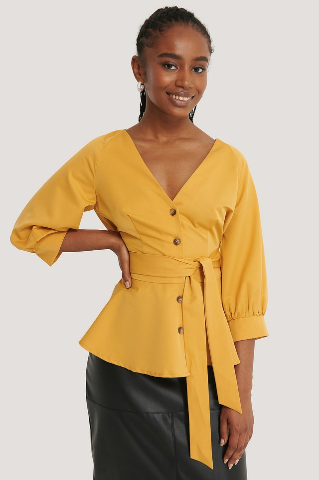 Balloon Sleeve Belted Blouse Yellow