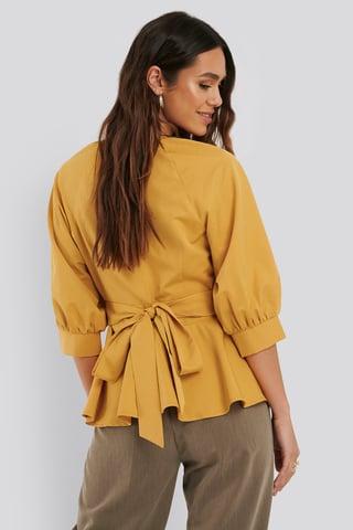 Yellow Bluse Med Ballonærmer