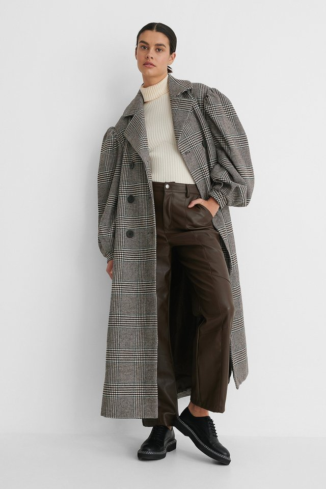 Checked Balloon Sleeve Belted Coat