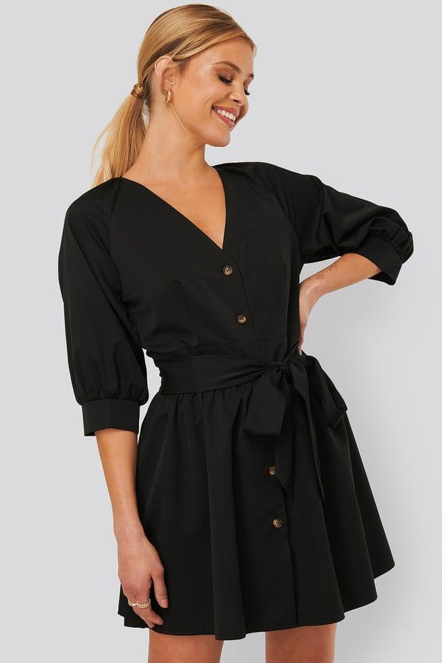 Balloon Sleeve Belted Mini Dress Black