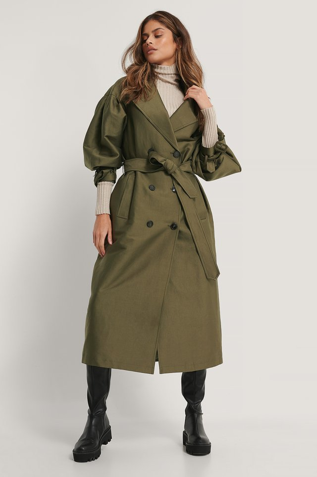 Balloon Sleeve Belted Trench Coat Green