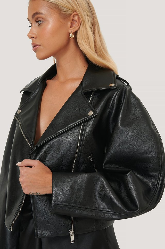 Balloon Sleeve Biker PU Jacket Black