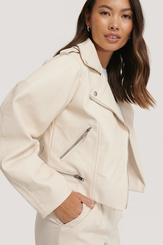 Balloon Sleeve Biker PU Jacket Offwhite