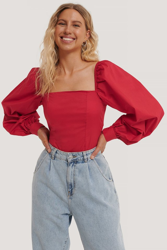 Red Balloon Sleeve Blouse