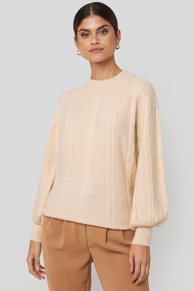Balloon Sleeve Cable Knitted Sweater Cream
