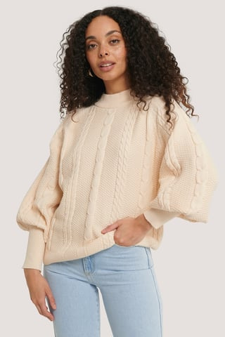 Cream Balloon Sleeve Cable Knitted Sweater