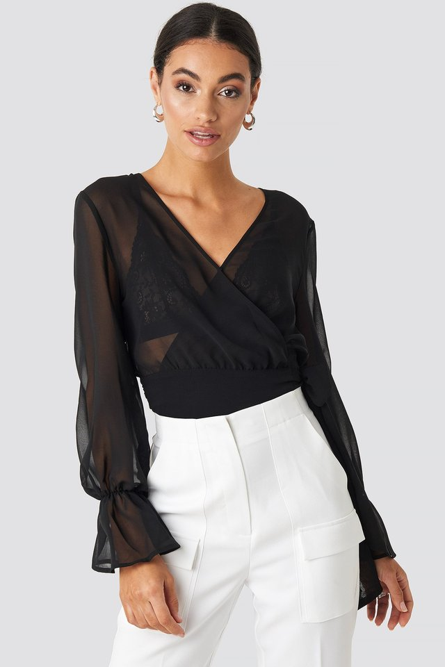 Balloon Sleeve Chiffon Blouse Deep Black