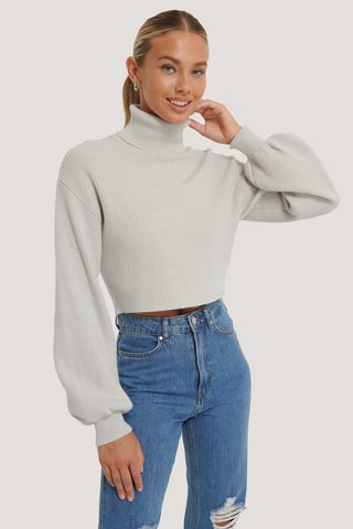 Grey Balloon Sleeve Cropped Polo Sweater