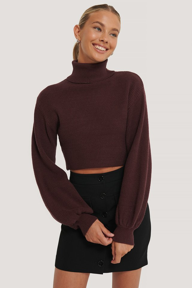 Balloon Sleeve Cropped Polo Sweater Aubergine