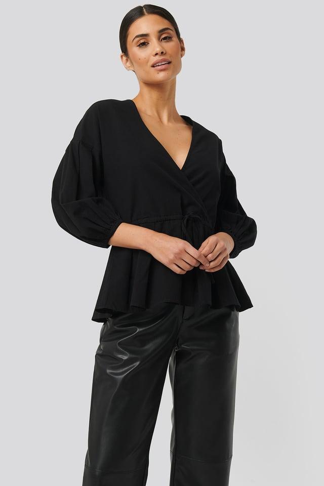 Balloon Sleeve Drawstring Blouse Black