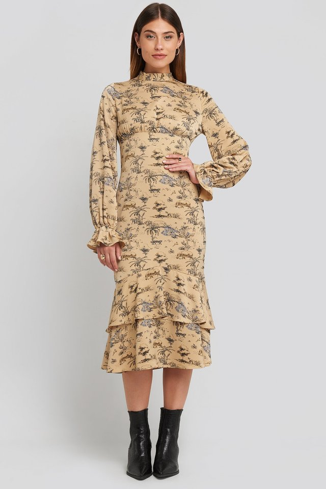 Ballon Sleeve Gathered Midi Dress Safari Print