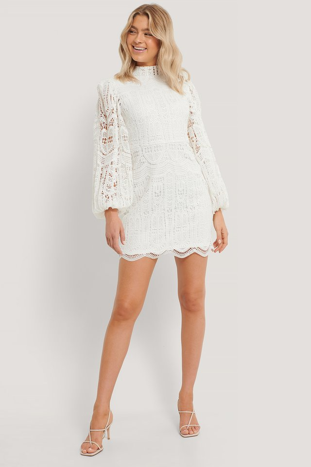 Balloon Sleeve High Neck Lace Dress White