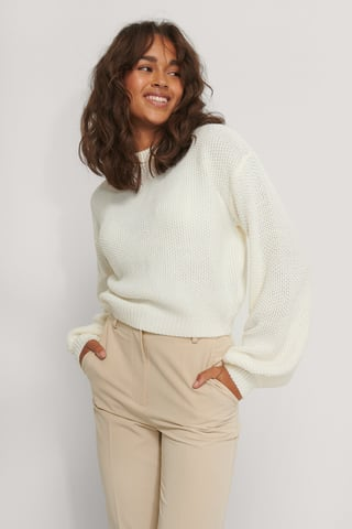 Offwhite Balloon Sleeve Knitted Cropped Sweater