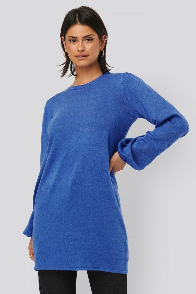 Balloon Sleeve Knitted Long Sweater Blue