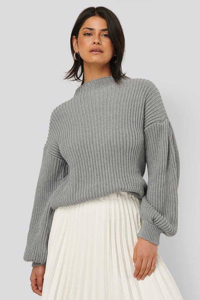 Balloon Sleeve Knitted Sweater Grey