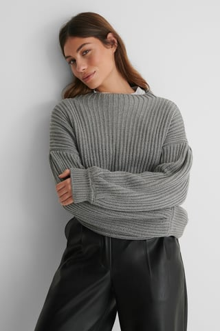 Grey Balloon Sleeve Knitted Sweater
