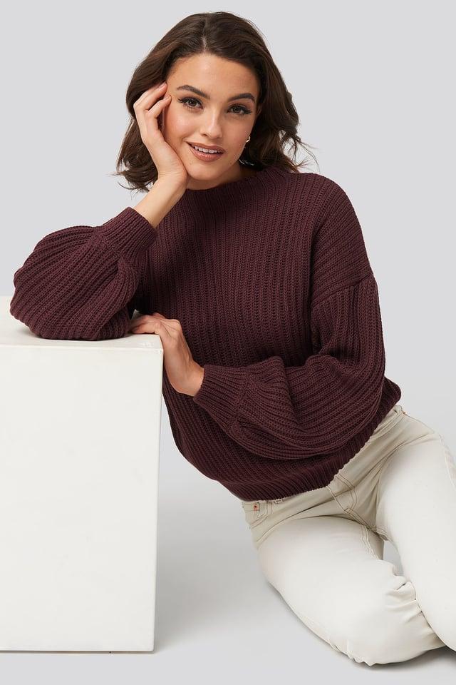 Balloon Sleeve Knitted Sweater Burgundy