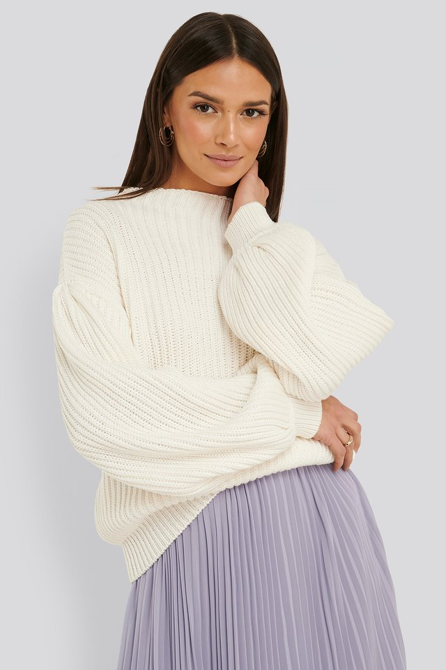 Balloon Sleeve Knitted Sweater Offwhite