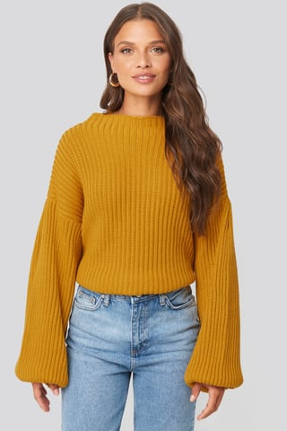 Mustard Balloon Sleeve Knitted Sweater
