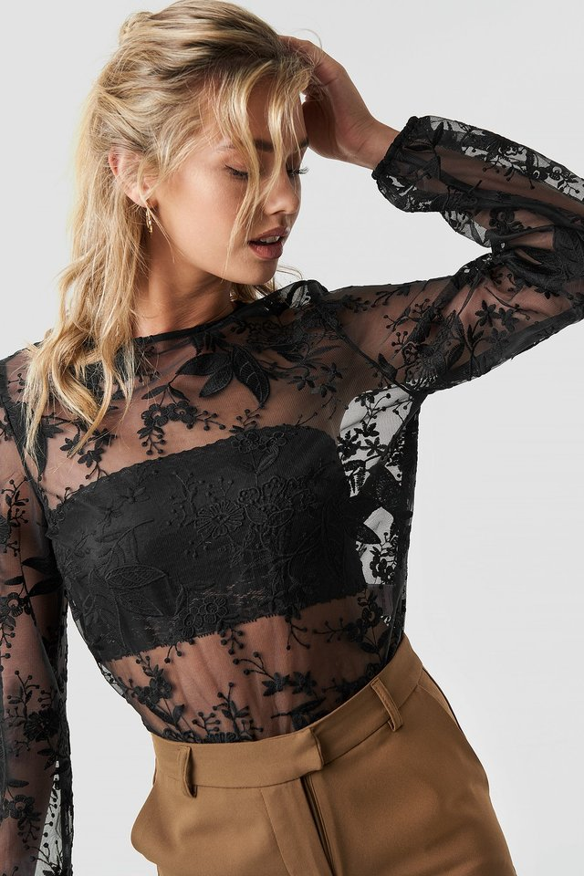 Balloon Sleeve Lace Blouse Black