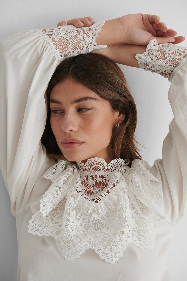 Balloon Sleeve Lace Detail Blouse Offwhite