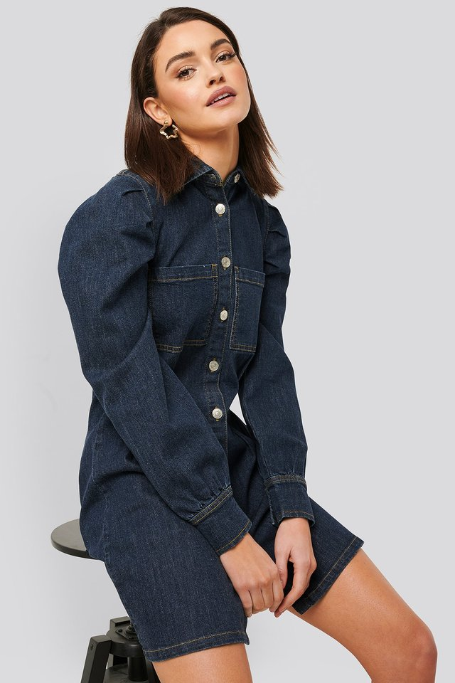Balloon Sleeve Mini Denim Dress Dark Blue