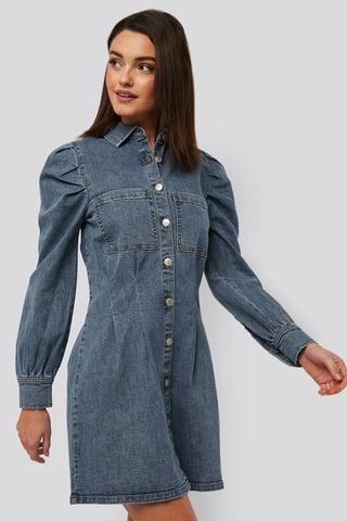 Mid Blue Miniklänning Med Ballongärmar