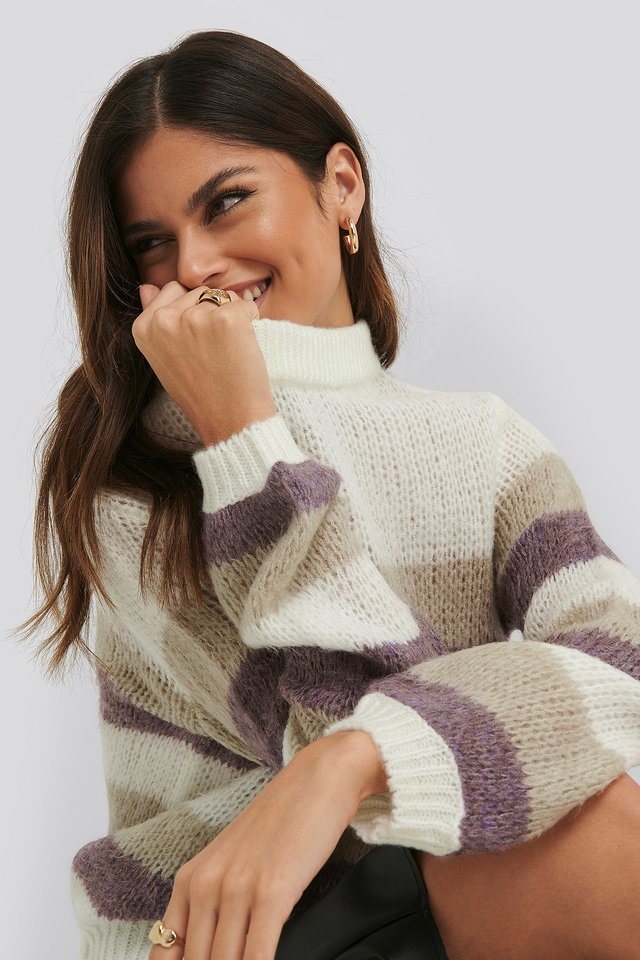 Balloon Sleeve Multi Striped Knitted Sweater Striped