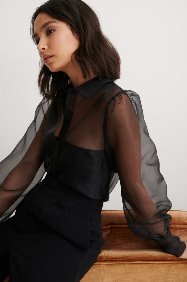 Black Balloon Sleeve Organza Blouse
