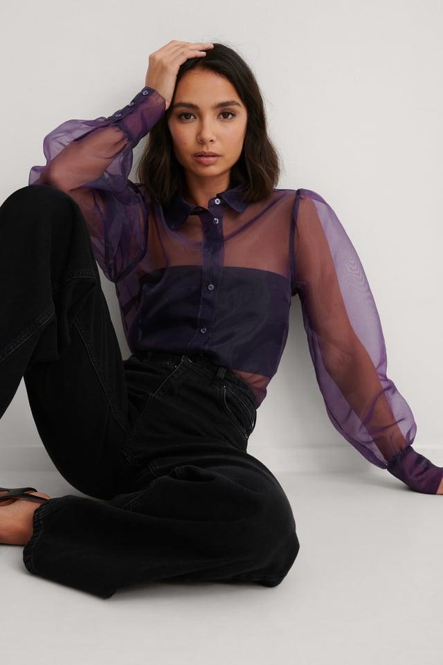 Purple Balloon Sleeve Organza Blouse
