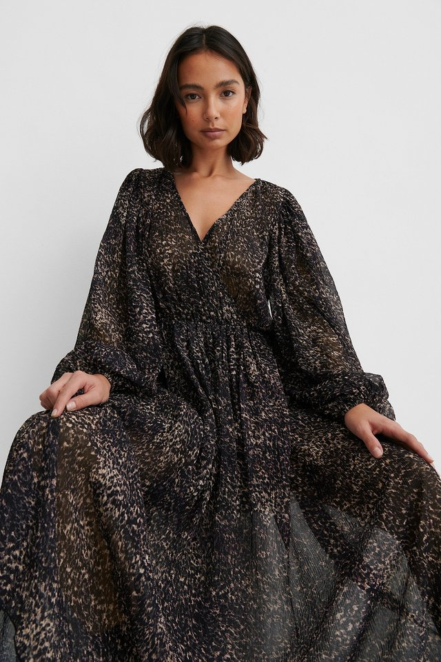 Leopard Balloon Sleeve Overlap Structured Dress