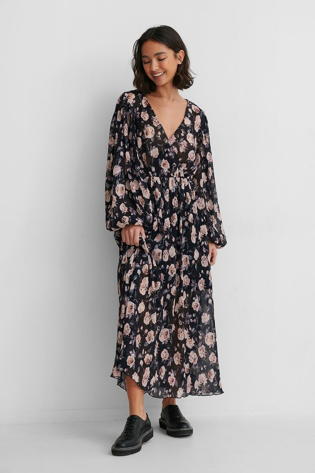 Navy Wallpaper Roses Balloon Sleeve Overlap Structured Dress