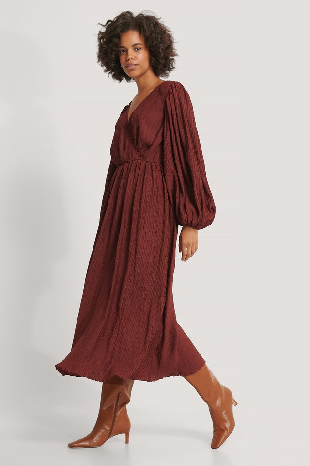 Red Balloon Sleeve Overlap Structured Maxi Dress