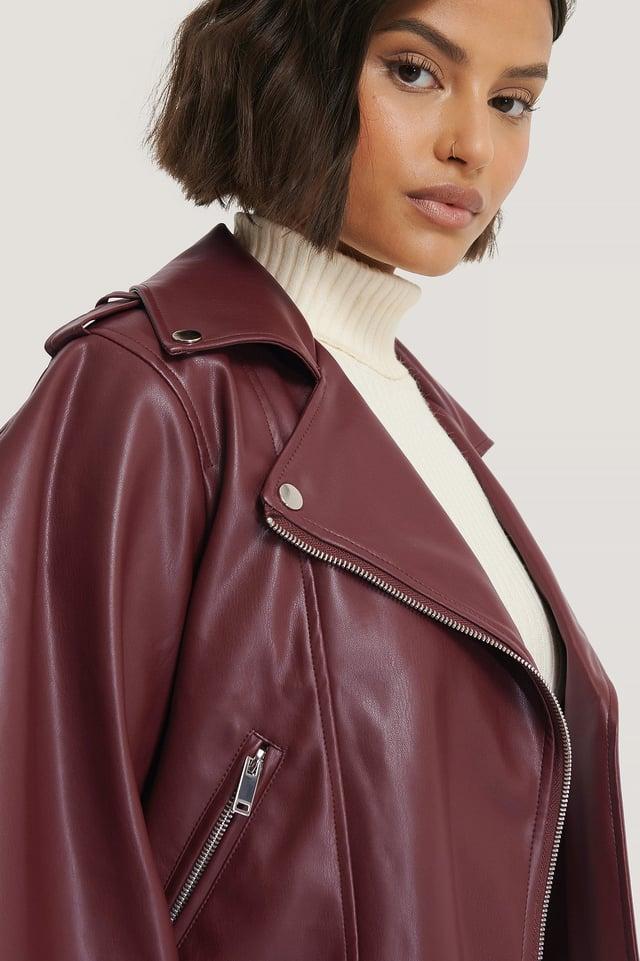 Balloon Sleeve PU Jacket Burgundy