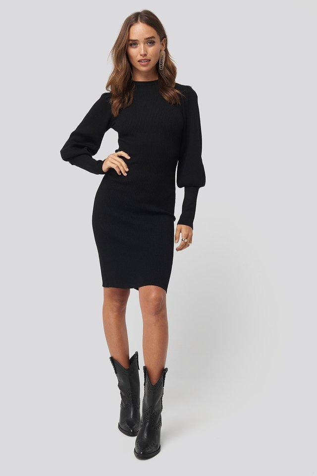 Black Balloon Sleeve Ribbed Knitted Dress