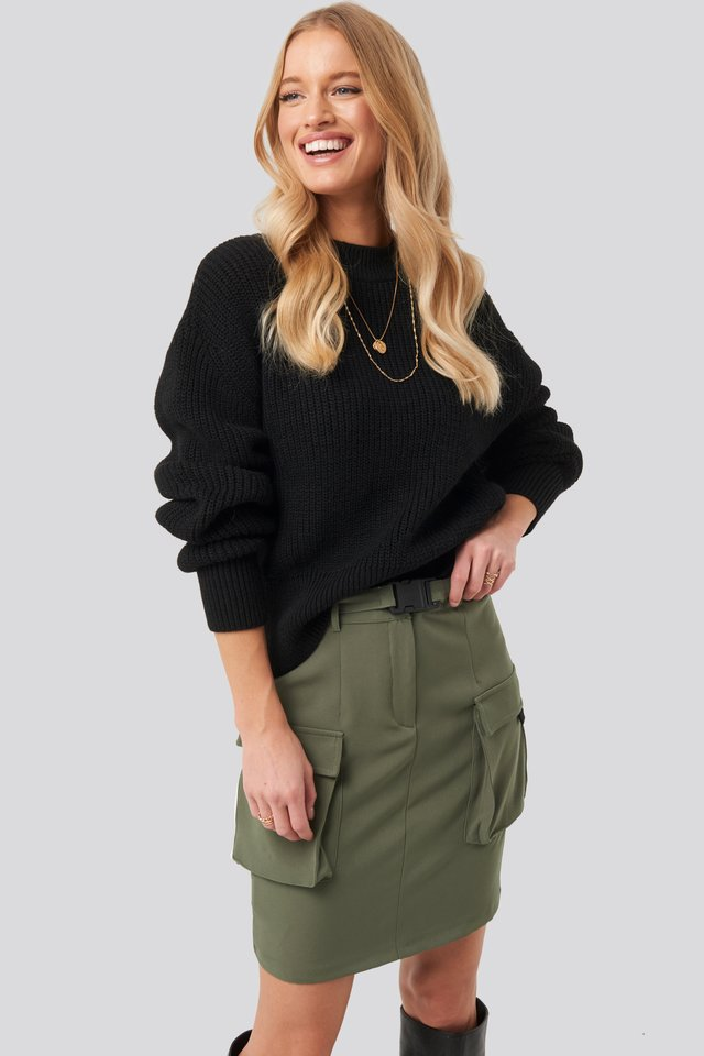 Balloon Sleeve Ribbed Sweater Black